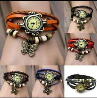 Vintage Fashion Bracelet Faux Leather Quartz Wrist Watch