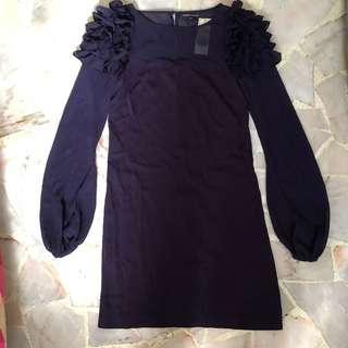 Warehouse Ruffle Cuff Sleeve Dress
