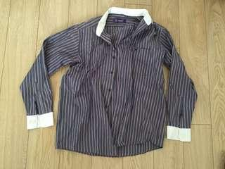 Purple Striped White Cuffs Long Sleeves