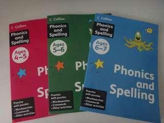 UK Harper Collins Phonics & Spelling WorkBook@$29.90/set(3 Bks)