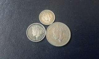 3pcs King george Malaya Borneo