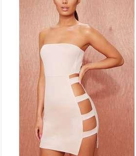 Nude bandeau cut out dress