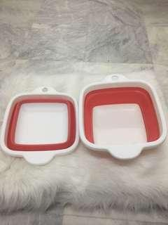 2 pcs foldable plastic ware