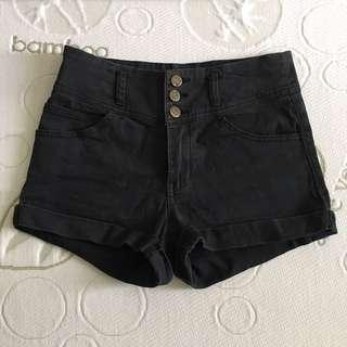 Size 10 Supre Black Stretchy High Waisted 3 Button Shorts