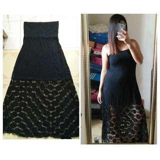 Tube Lacey Black Dress