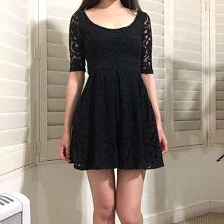 Size 6 Paradisco Black Lace 3/4 Sleeve Dress