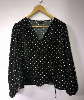monki polka dot tie up top