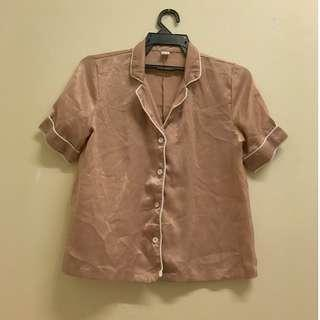 Champagne Pink Short Sleeve Satin Blouse