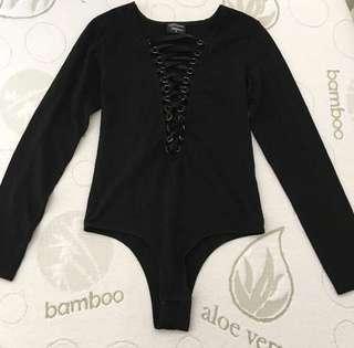 Dream House Size 8-10 Black Lace Up Corset Bodysuit
