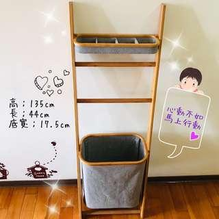 小物收納•毛巾架•髒衣籃 三合一層架