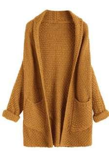 Waffle Knit Shoulder Hanging Cardigan