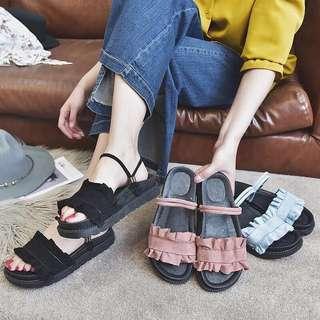 🚚 女神2way春漾麂皮厚底舒適兩穿式涼鞋拖鞋/麋皮厚底鞋增高鞋涼鞋拖鞋鬆糕鞋