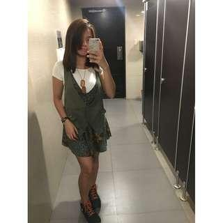 Army Green Floral Dress, Inner not included