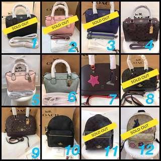 💝12.12 Sale! 💯% ORI Coach Woman Handbag / Backpack Series @ ALL READY STOCK!