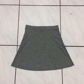 Bershka Plaid Grey Skater Flare Skirt