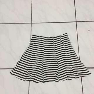 Bershka Black & White Stripes Skater Flare Skirt