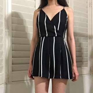 Missguided Size 8 Black And White Stripe Playsuit