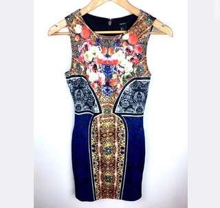 Forever 21 sz XS/S blue gold black floral russian bodycon dress sexy party club