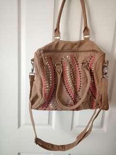 Sportsgirl // Tan woven detail summer bag