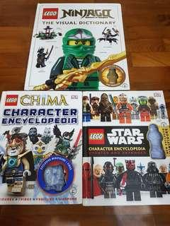 LEGO - 3 Big BOOKS - STAR WARS AND NINAGO ( WITHOUT FIGURINES)