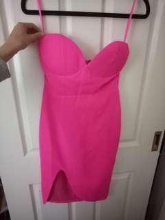 SHOWPO // Stunning pink strapless midi dress xs 6