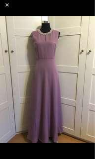 Dress/ purple dress/ purple gown/ purple maxi dress/ maxi dress/ gown/ embellished gown/ fit and flare gown/