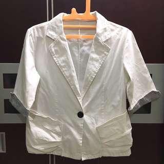 blazer jas kain putih M PUPUwear