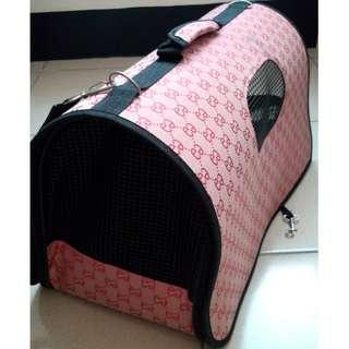 🚚 簡約格紋 輕便簡易折疊寵物外出提袋(附揹袋/防護頸圈)