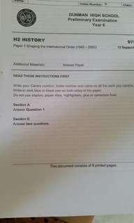 A level H2 International History Practice Papers