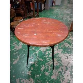 東鼎二手家具 2.5尺木紋鐵腳圓桌*洽談桌*休閒桌*餐廳桌*咖啡桌*戶外桌*吃飯桌*火鍋桌*簡餐桌*麻將桌*泡茶桌