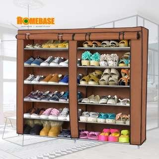 Homebase Shoe Rack Wardrobe With Cover - 6 Tier 2 Columm (Brown Cover)