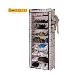 Homebase Shoe Rack Wardrobe With Cover - 8 Tier (Colourful design Cover)