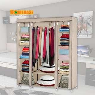 HOMEbase King Size Curtain Roll up Clothes Wardrobe With Hanging - 3 Column (Beige Colour)