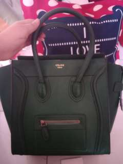 89868077e0 (Further Markdown Clearance )100% Genuine Leather Celine Emerald Green  Luggage Tote bag!