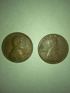 USA Lincoln Cents 2 diff. 1973 & 1978D