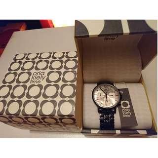 英國 Orla Kiely Watch女裝手錶 (RRP英磅:165) 黑色花花