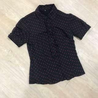 Red and Black Cap Sleeve Chiffon Polka Dot Blouse