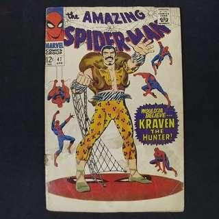amazing Spider-Man #47(1967) w/ appearance of KRAVEN - Stan Lee story - Marvel Comics / Silver Age