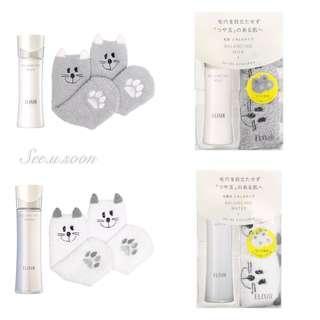 💚日本 資生堂 ELIXIR ✨水油平衡抗初老系列 滋潤型 化妝水 乳液  💥限定包裝贈送 😻貓咪襪子