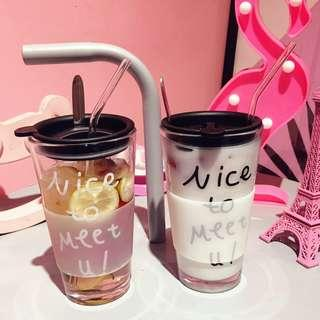 🚚 Simple Glass Drinking Mug with Stainless Steel Straw