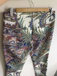 Textured skinny leg pants