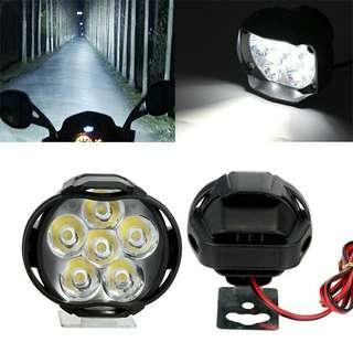 Universal Spotlight 6 LED Motorcycle 6500K White Headlight