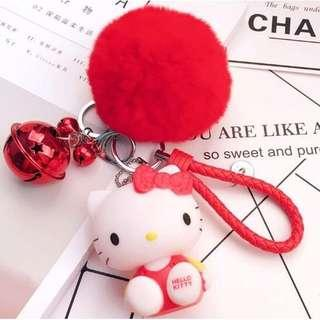 Free Mailing - 😻 Hello Kitty Keychain With Furball & Bell 😻