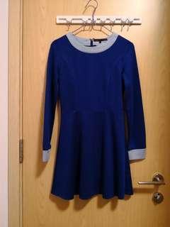 全新 2%藍色長袖連身裙