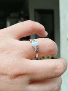 14k Opal Ring White Gold