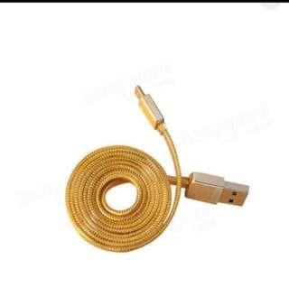 Original REMAX 2.1A Golden Noodle Style Micro USB Charging Data Cable For Cellphone