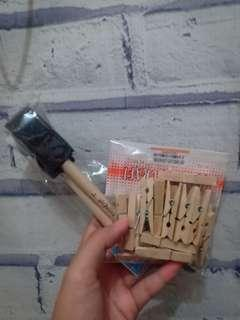 WOODEN CLIP&FOAM BRUSH MURAH