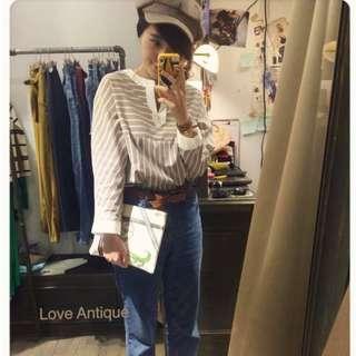 🚚 韓貨賣家Antique~直紋V領長袖上衣