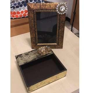GOLDEN Picture Frame with Tissue Box