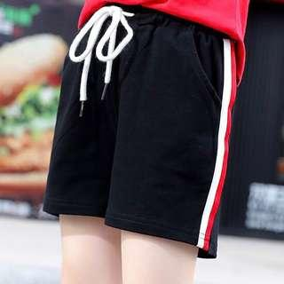 🌻 ulzzang lounge / workout black striped high waisted drawstring shorts